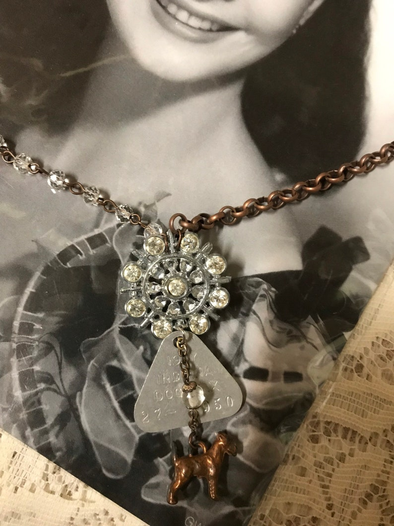 MY LITTLE DOG canine dog tag charm vintage assemblage necklace rhinestone rosary upscaled brooch repurposed altered art mixed media