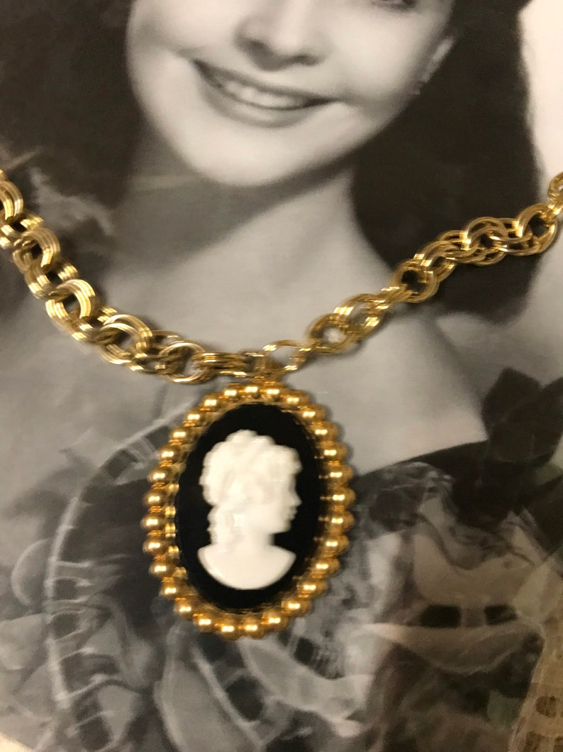 CAMEO PORTRAIT black white beaded vintage assemblage necklace altered art mixed media