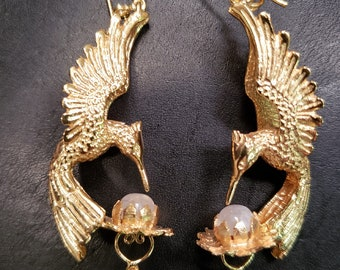Hummingbird Lotus Earrings - Gold Vermeil / Brass