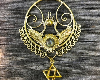 8e0a876e86c82f Shakti Bhakti Pendant with Star Tetrahedron - Brass - Labradorite