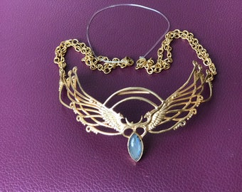 8ca4c83d1c2d90 Wing Tiara - 24K Gold Plated - Labradorite ~ Unicorn Horn INCLUDED!!