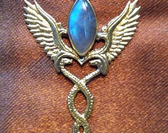 2eec09ca51a75e Caduceus Pendant - Brass - Labradorite