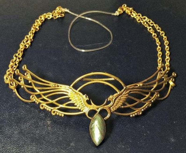 44db2b5238f632 Wing Tiara Brass Labradorite Unicorn Horn INCLUDED | Etsy