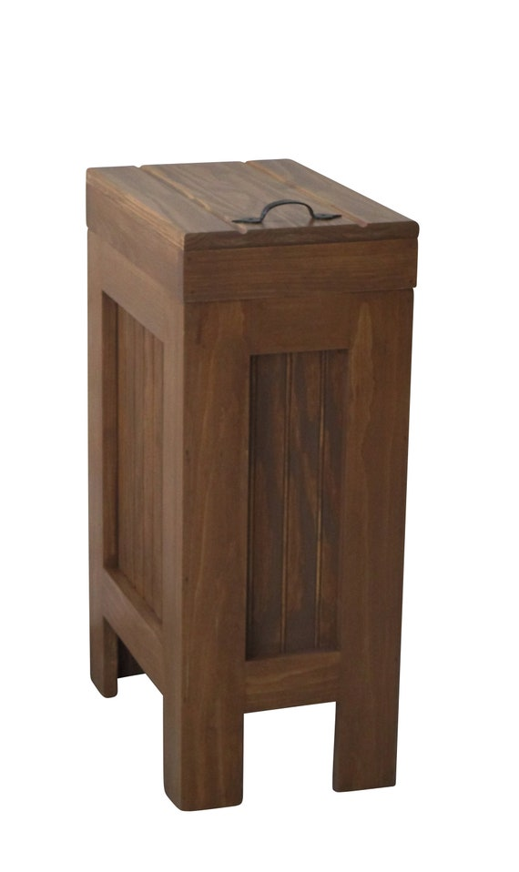 Kitchen Trash Can Bin Farmhouse Wood Garbage Can Colonial Pine Stain