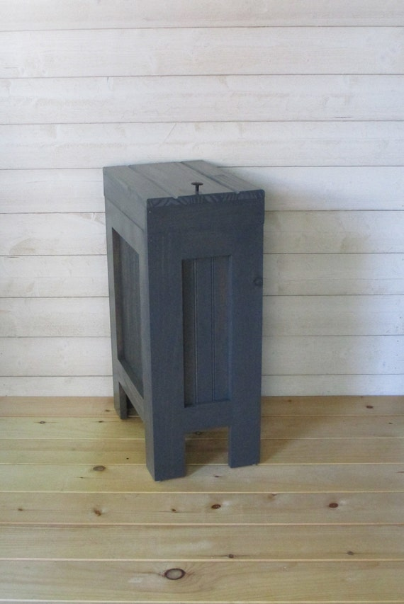 Wood Trash Bin, Kitchen Garbage Can, Wood Trash Can, Rustic Trash Bin,  Wooden Trash Bin, Wooden Trash Can, 13 Gallon, Charcoal Gray Stain