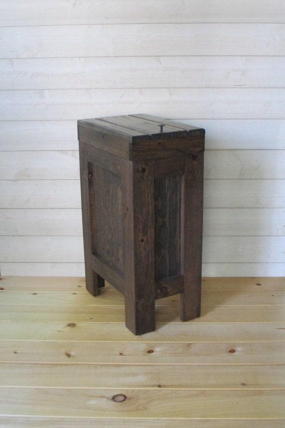 Wood Trash Can / Kitchen Trash Can / Wood Trash Bin / Rustic Trash Bin,  Wooden Trash Bin, Wooden Trash Can, 13 Gallon, Walnut Stain