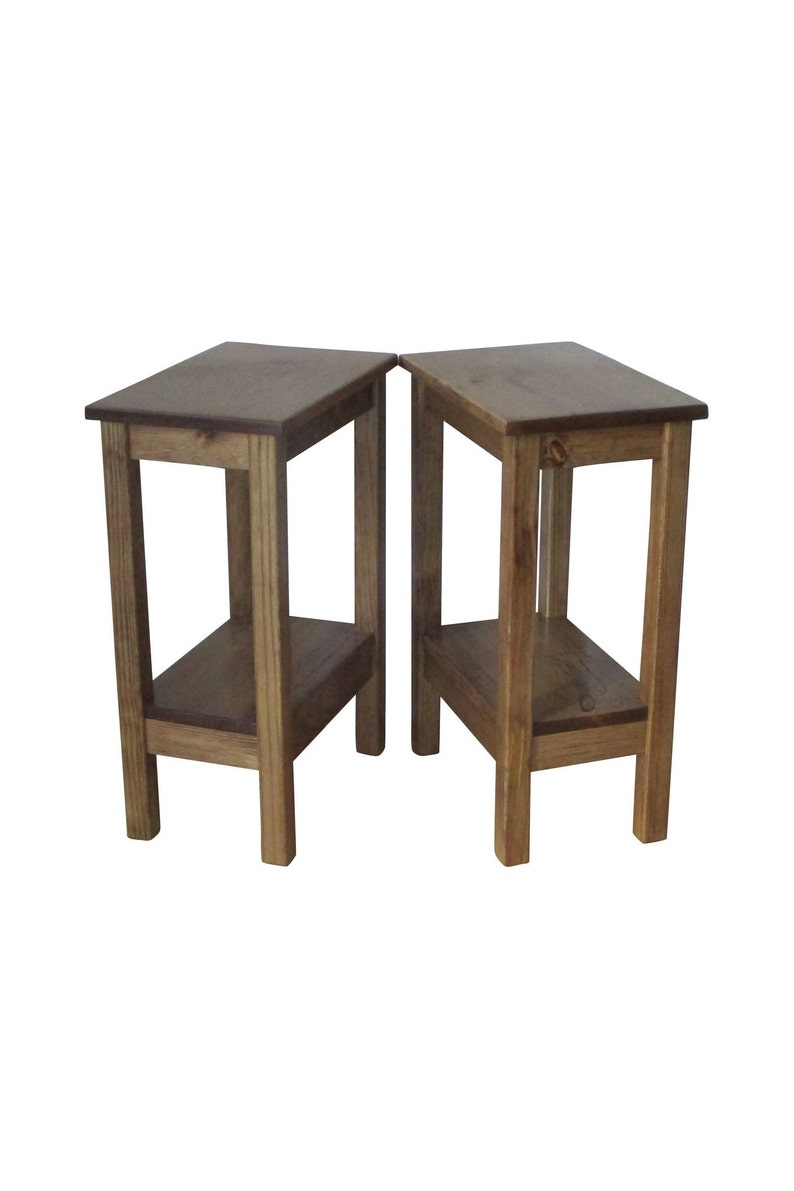 End Table Set Small End Table Two Rustic Nightstands Etsy