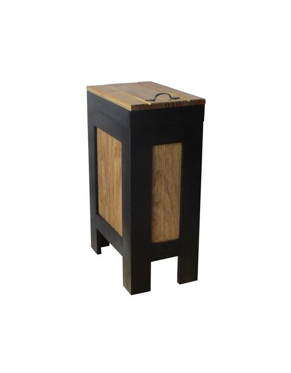 Modern Rustic trash bin Cabinet kitchen storage Wood Trash can recycle bin  dog food storage Black & Golden Oak Stain,Rustic