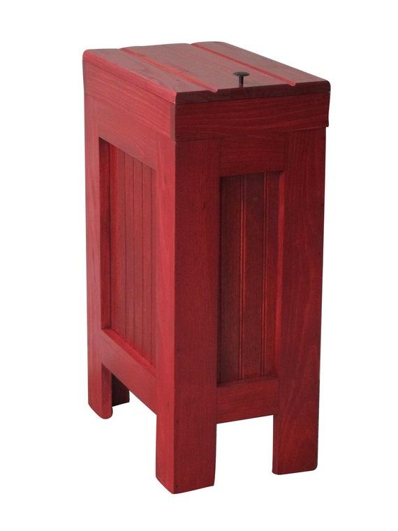 Wood Trash Bin, Kitchen Garbage Can, Wood Trash Can, Rustic Trash Bin,  Wooden Trash Bin, Wooden Trash Can, 13 Gallon, Barn Red Stain