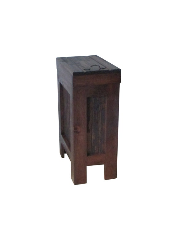 Rustic Trash Bin / Kitchen Garbage Can, Wood Trash Bin, Wood Trash Can,Dog  Food Storage, Wood Box,13 Gallon, recycle bin, Red Mahogany Stain