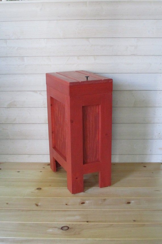 Wood Trash Can Kitchen Garbage Can Rustic Wood Trash Bin Rustic Trash Bin,  Wooden trash Bin, Wooden Trash Can, 13 Gallon, Red Stain