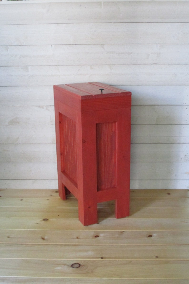 Merveilleux Wood Trash Can Kitchen Garbage Can Rustic Wood Trash Bin Rustic Trash Bin,  Wooden Trash Bin, Wooden Trash Can, 13 Gallon, Red Stain