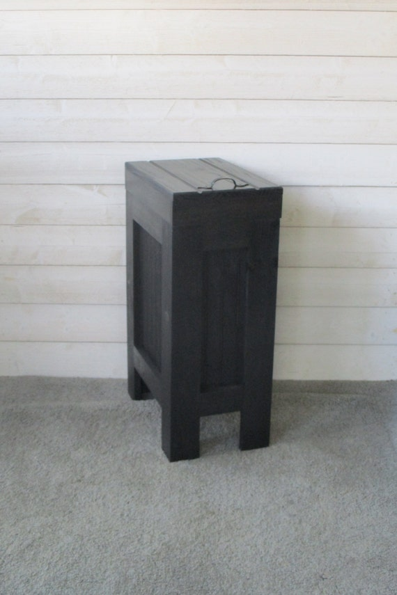 Wood Trash Bin, Kitchen Garbage Can, Wood Trash Can, Rustic Trash Bin,  Wooden Trash Bin, Wooden Trash Can, 13 Gallon, Black 24 colors avail.