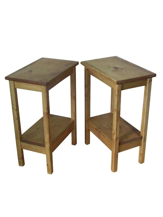 Slim Bedside Tables: Rustic Nightstand Pair / Narrow Bedside Tables / Side