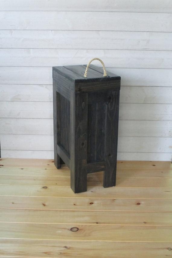 Wood Trash Bin, Garbage Can ,Kitchen Trash Can, Wood Trash Can, Rustic  Trash Can, Wooden Trash Bin, Wooden Trash Can, Black Stain