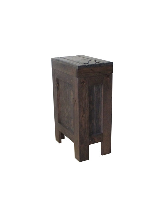 Wood Trash Can Kitchen Garbage Can Wood Trash Bin Rustic Etsy