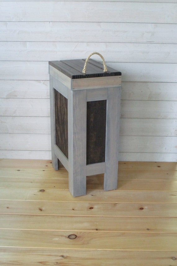 Wood Trash Can, Kitchen Garbage Can, Wood Trash Bin, recycle bin, dog food  storage, 13 Gallon, Gray & Walnut Stain, Pine , Rustic