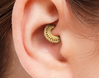 Gold Daith Earring, Gold Daith Ring, Indian Daith Earring, Gold Daith Jewelry, Daith Piercing Jewelry, Daith Earring Gold 14k, SKU 35