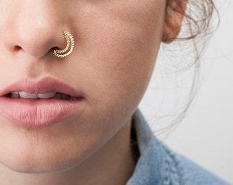 Tribal Nose Ring, Indian Nose Hoop, Indian Nose Piercing, Nose Ring, Nose Jewelry, Nostril Ring, 14K Gold, Nose Hoop, Nose Ring, SKU 39