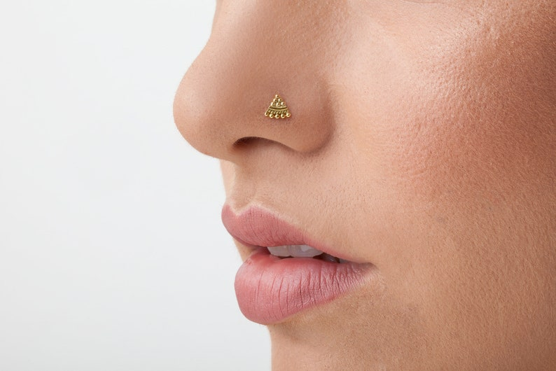 Nose Stud Unique Handmade Butterfly Solid 14k Yellow Gold Nostril Jewelry in 20 Gauge For LEFT Side Piercings