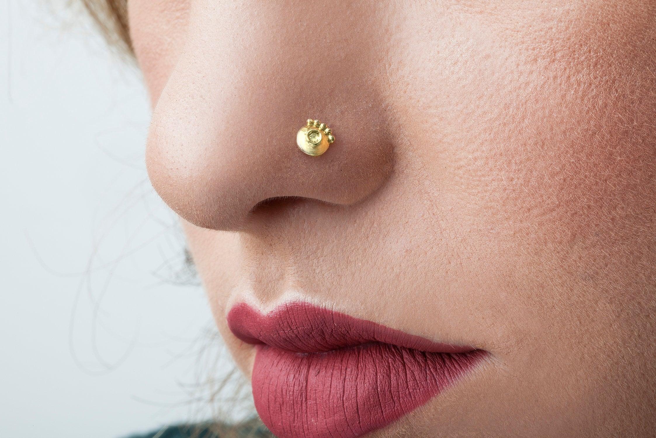 Indian Nose Stud 14 Karat Solid Gold Nose Stud Ring Nose Stud Nose Studs Gold Nose Stud Nose Bling Nose Pin