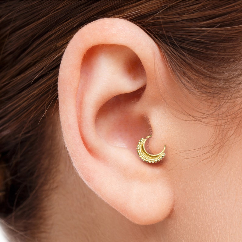 Gold Tragus Earring Gold Tragus Piercing Tragus Moon Ring Indian Tragus Ring Tragus Ring Gold Tragus Jewelry Gold Real Gold Tragus