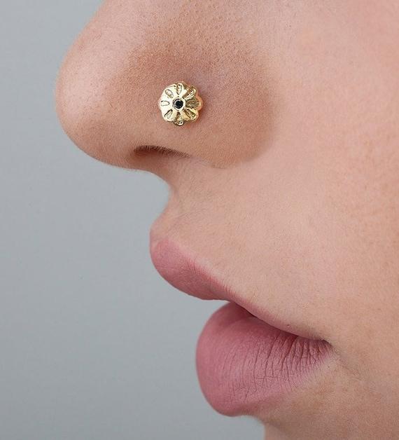 Diamond Nose Stud Black Diamond Nostril Screw 1mm Black Etsy