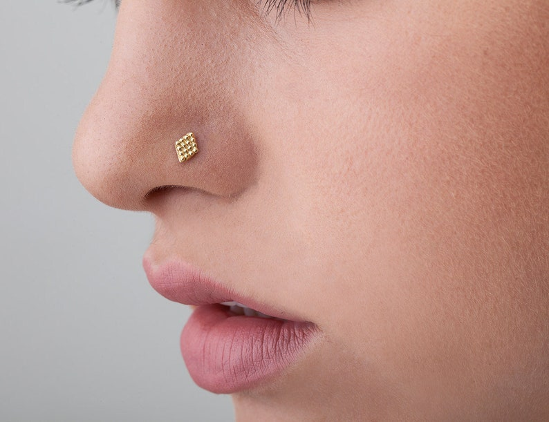 c92f655051a72 Nose Jewelry, Solid Gold 14k Nose Stud, Nostril Stud, Gold Nose Pin, Gold  Nostril Piercing Ear Pin, Geometric Piercing
