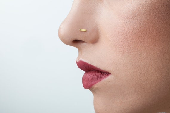 Gold Bar Jewelry Gold Bar Nose Stud Dainty Nose Stud Thin Etsy