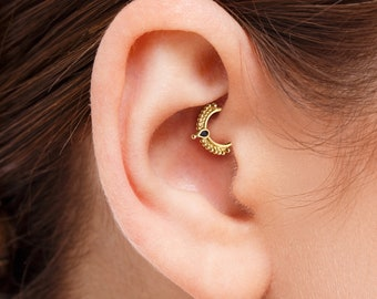 Solid Gold Daith Earring, Gold Enamel Daith, 14k Gold Cartilage Ring, Rose Gold Daith Ring, White Gold Daith Jewelry, Daith Piercing, SKU 53