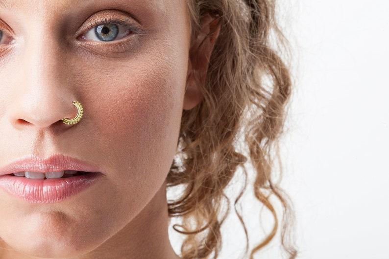 Nipple Indian Nose Ring Rook Cartilage Gold Septum Ring Belly Ring- Solid Gold Nose Ring Nose Jewelry Traus Nose Hoop