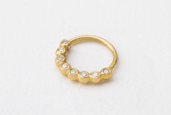 Diamond Nose Ring Diamond Piercing Diamond Nose Hoop Bling Etsy