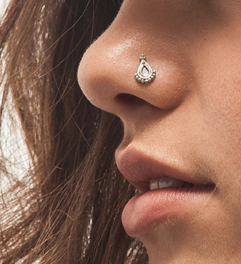 bc360ab75 Gold Nose Stud Solid 14k White Gold Nostril Pin Nose Ring | Etsy