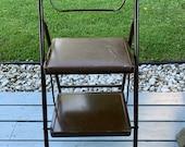 Vintage Lady Seymour Mid Century Modern Folding Locking Step Stool, Plant Stand Kitchen Step Stool