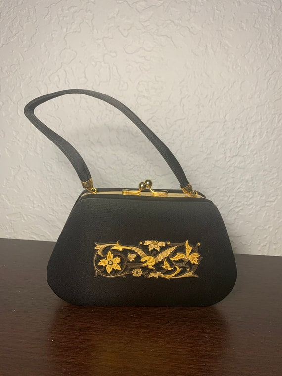 Black Gold Minaudiere Dance Purse Box Purse Compac