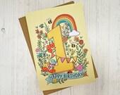 1st Birthday card - hand ...
