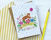 Tiger Birthday card - han...