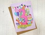 3rd Birthday card - hand ...