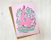 4th Birthday card - hand ...