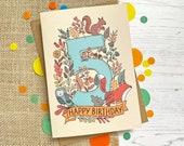 5th Birthday card - hand ...
