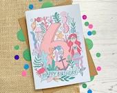 6th Birthday card - hand ...