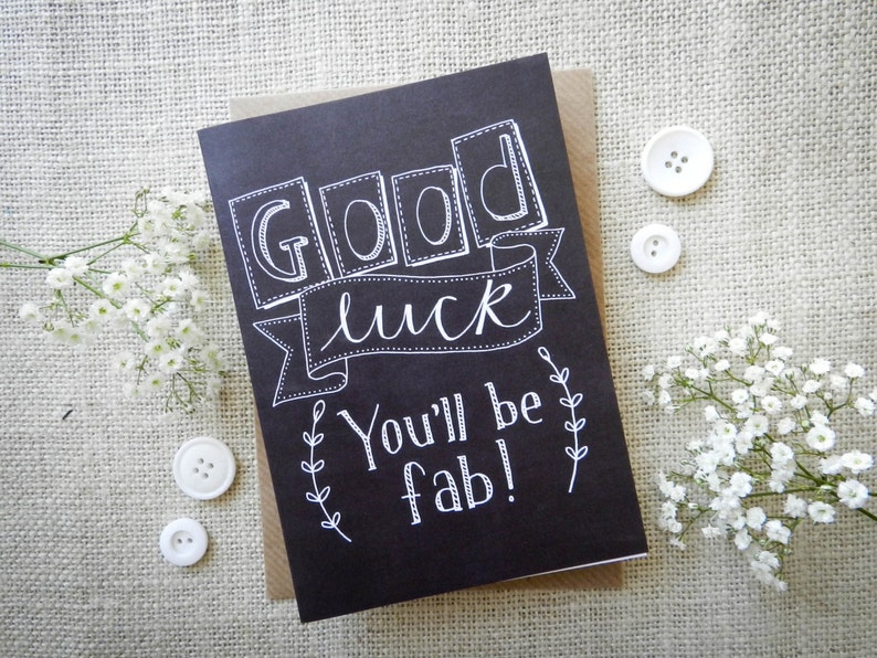 Good Luck chalkboard card  quirky hand drawn greeting card  image 0