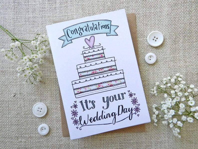 It's your Wedding Day card  wedding cake  quirky hand image 0