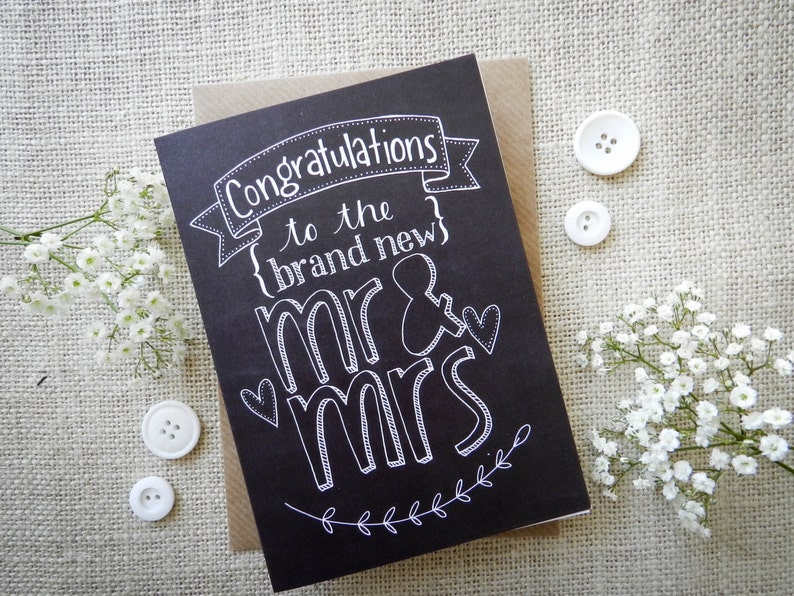 Mr & Mrs  Wedding card  quirky hand drawn greeting card  image 0