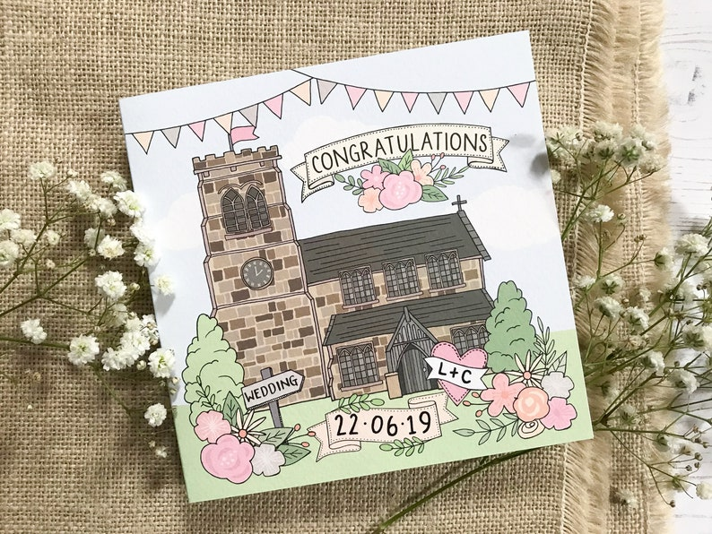 Personalised Wedding Card Church Wedding Card Church image 0