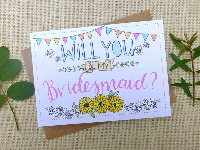 Will You Be My Bridesmaid  quirky hand drawn post card image 0