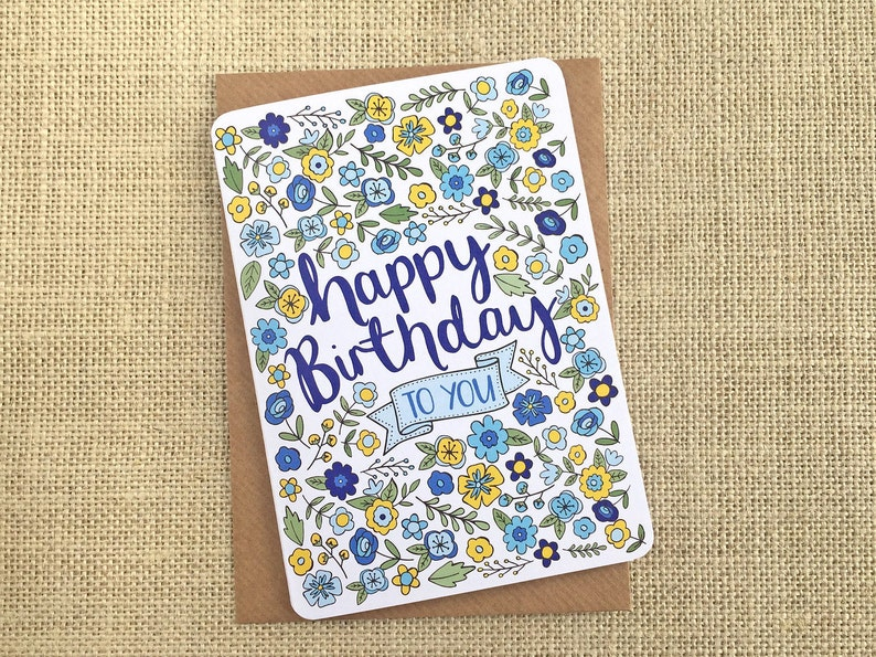 Birthday card  hand drawn blue & yellow quirky flowers image 0