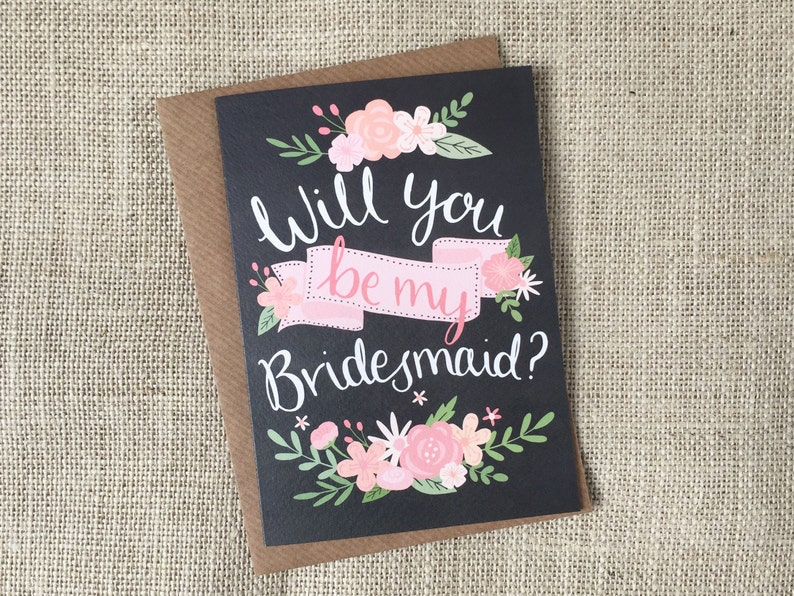 Will You Be My Bridesmaid  chalkboard hand drawn greeting image 0