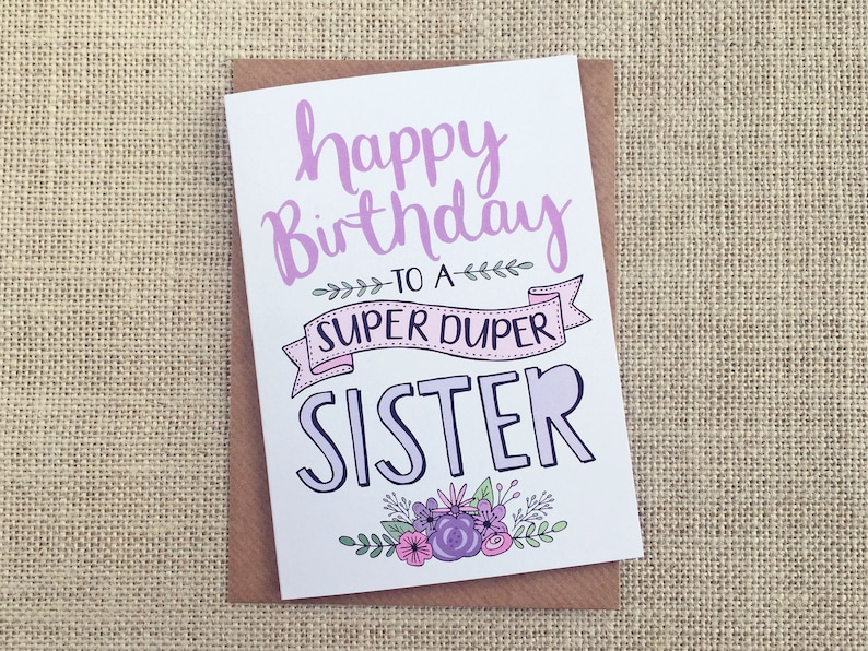 Happy Birthday Sister  Birthday card  hand lettering image 0