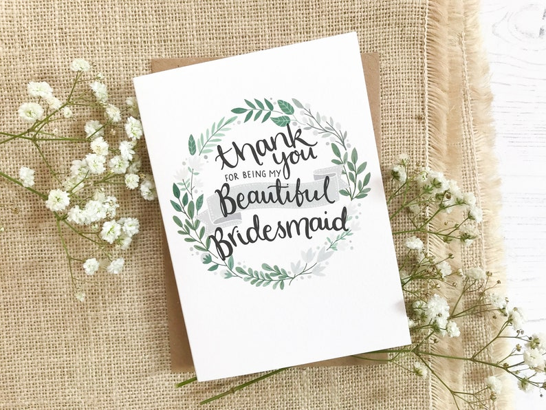 Thank you for being my Bridesmaid  wreath design  hand drawn image 0